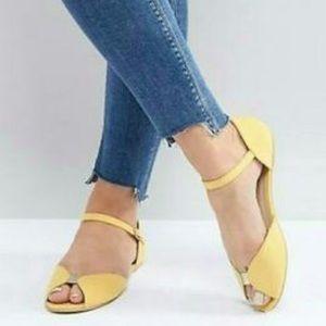ASOS Open Toed Yellow Ballet Flats